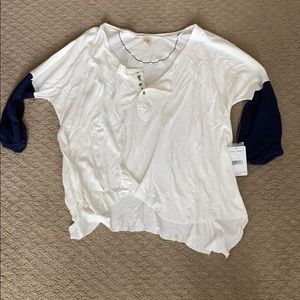 Free People distressed oversized Henley top